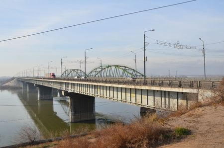 This picture shows a new bridge with an old one Stockfoto