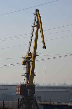 This picture shows a port crane Stockfoto