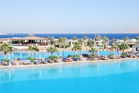 Swimming pools at luxurious Sharm el Sheikh hotel, Egypt Stock Photo