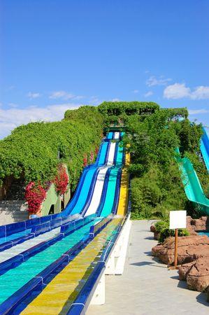 Aqua park water attractions, Antalya, Turkey Stock Photo