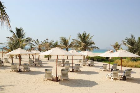 Beach at luxurious hotel, Dubai, UAE photo