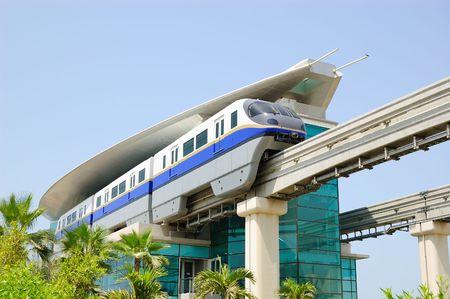 The Palm Jumeirah monorail station, Dubai, UAE Stock Photo