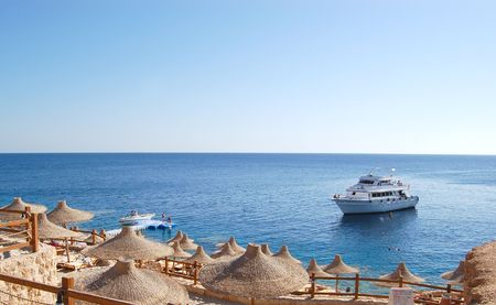 motorboat: Motorboat for diving at the coast of Sharm el Sheikh resort, Egypt