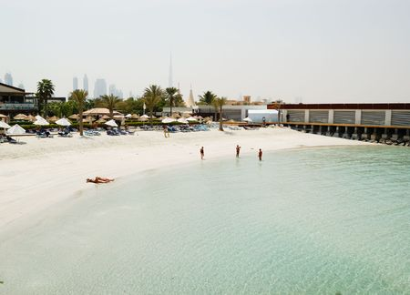 Beach at popular hotel, Dubai, United Arab Emirates photo