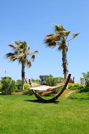 hollidays: Hammock at lawn in popular hotel, Antalya, Turkey