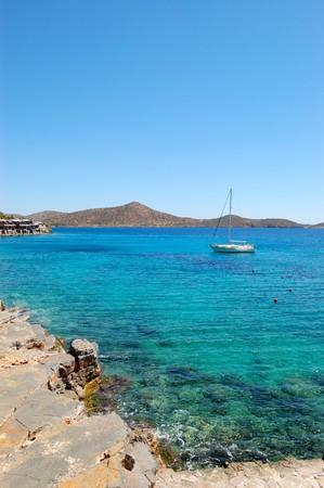 Beautiful beach of the luxury hotel, Crete, Greece photo