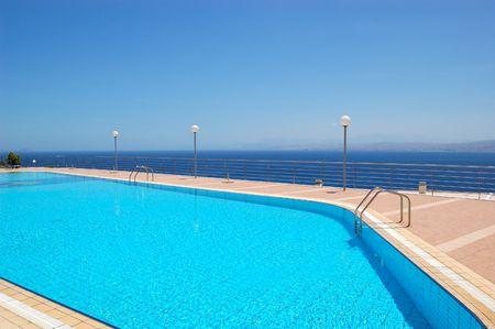 Swimming pool by luxury villas, Crete, Greece photo