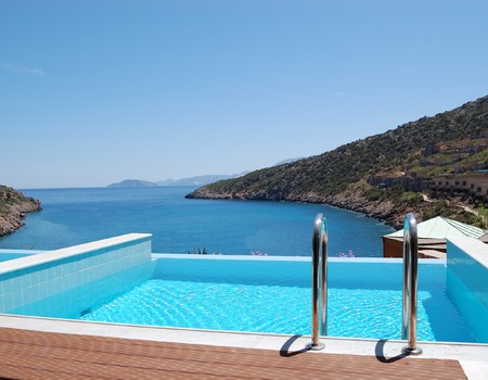 aegean sea: Swimming pool at the luxury villa, Crete, Greece