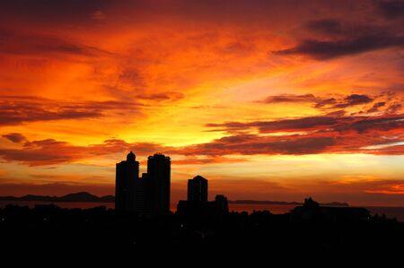 pattaya thailand: The sunset at luxury resort, Pattaya, Thailand Stock Photo