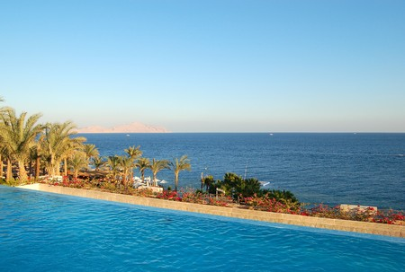 sharm: View from swimming pool on Red Sea and Tiran island, Sharm el Sheikh, Egypt