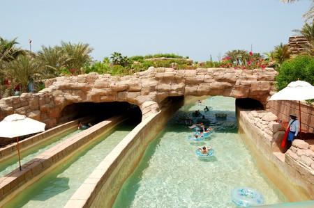 DUBAI, UAE - AUGUST 28: The Aquaventure waterpark of Atlantis the Palm hotel, located on man-made island Palm Jumeirah on August 28, 2009 in Dubai, United Arab Emirates