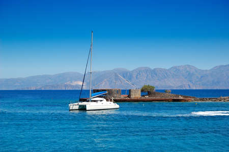 Turquoise Aegean Sea and luxury yacht, Crete, Greece Stock Photo - 8176558