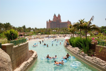 DUBAI, UAE - AUGUST 28: The Aquaventure waterpark of Atlantis the Palm hotel, located on man-made island Palm Jumeirah on August 28, 2009 in Dubai, United Arab Emirates   Editorial