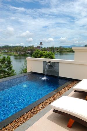 Swimming pool at luxury hotel, Phuket, Thailand Stock Photo
