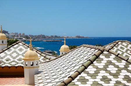Tiled roof of the luxury villas, Tenerife island, Spain photo