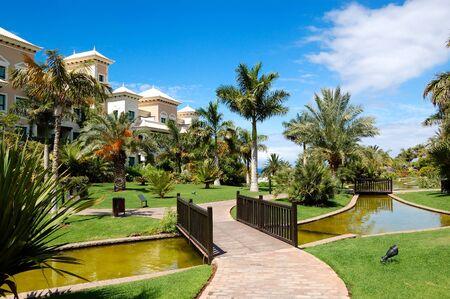 canary islands: Recreation area of luxury hotel, palm trees and bridge, Tenerife island, Spain