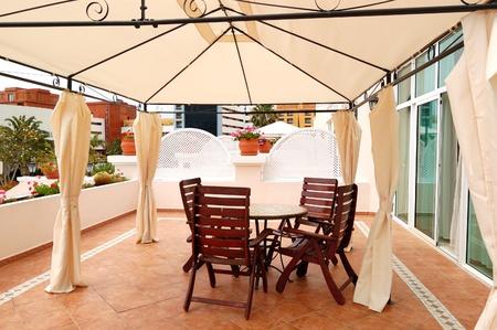 Outdoor terrace at luxury villa, Tenerife island, Spain photo