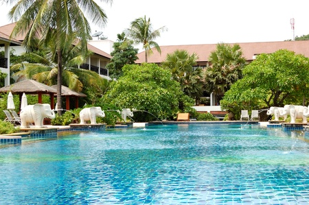 Swimming pool at modern luxury hotel, Samui island, Thailand