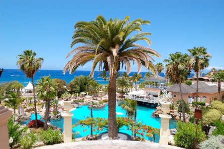 beaches of spain: Swimming pool, open-air restaurant and beach of luxury hotel, Tenerife island, Spain