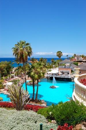 Swimming pool, open-air restaurant and beach of luxury hotel, Tenerife island, Spain Stock Photo - 10004153