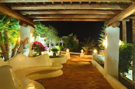 Illuminated recreation area of luxury hotel, Tenerife island, Spain Stock Photo - 10004196