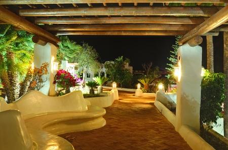 Illuminated recreation area of luxury hotel, Tenerife island, Spain Stock Photo - 10004196