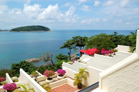 Terrace with sea view at luxury hotel, Phuket, Thailand