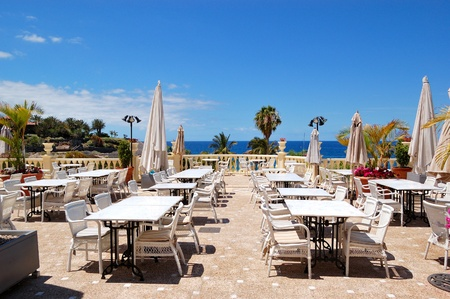 Sea view terrace of the luxury hotels restaurant, Tenerife island, Spain
