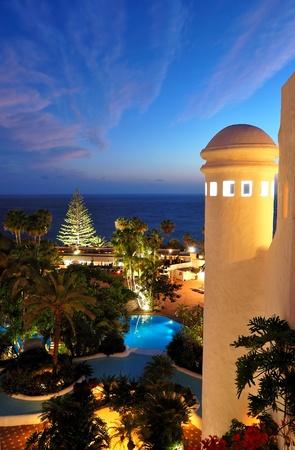 Sunset and beach at luxury hotel, Tenerife island, Spain