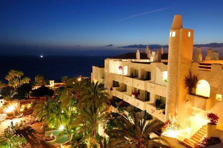 Sunset and building of luxury hotel, Tenerife island, Spain Stock Photo - 10867890