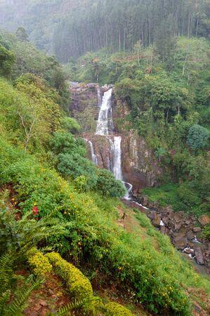 The waterfall and green landscape, Nuwara Eliya Sri Lanka photo