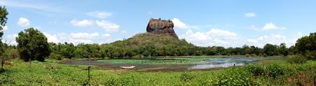 buddha sri lanka: The panorama of Sigiriya (Lions rock) is an ancient rock fortress and palace ruins, Sri Lanka Stock Photo