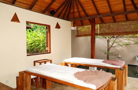 recreation room: SPA massage beds at  luxury hotel, Bentota, Sri Lanka Editorial