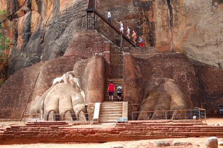 lions rock: The Sigiriya (Lions rock) is an ancient rock fortress and palace ruins, Sri Lanka Editorial