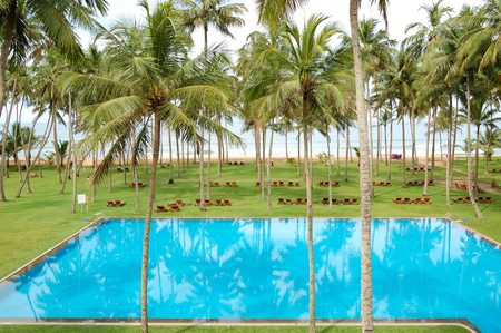 The swimming pool and beach of luxury hotel, Bentota, Sri Lanka Stock Photo - 11556195
