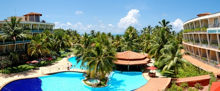 The panorama of swimming pool at luxury hotel, Bentota, Sri Lanka