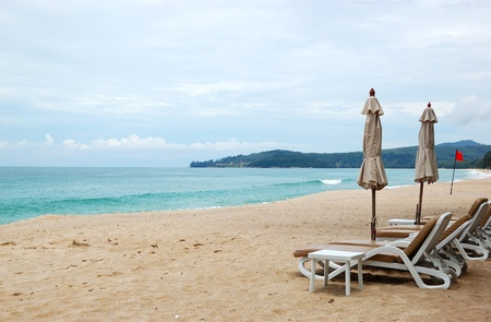 Beach with palm trees of luxury hotel, Phuket, Thailand photo