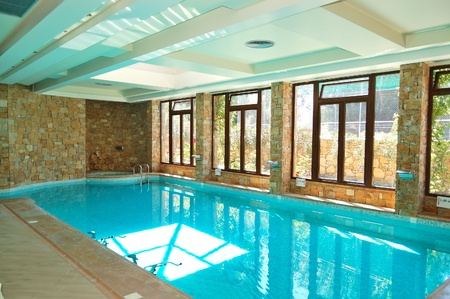 The swimming pool with jacuzzi in SPA at modern hotel, Halkidiki, Greece