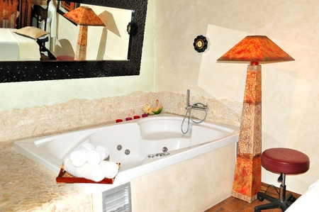 The bath with  jacuzzi in SPA at modern hotel, Halkidiki, Greece