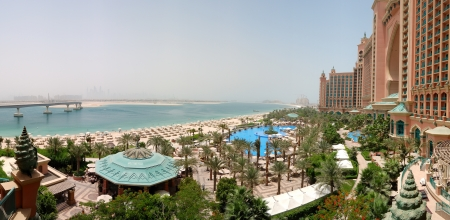 Panorama of Atlantis the Palm hotel's beach, Dubai, UAE
