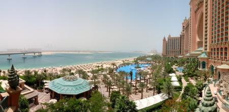 Panorama of Atlantis the Palm hotels beach, Dubai, UAE