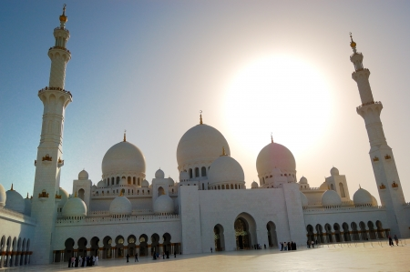 Sheikh Zayed Grand Mosque during sunset, Abu Dhabi, UAE photo