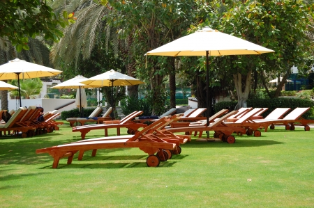 Green lawn at the beach of luxury hotel, Jumeirah, Dubai, UAE