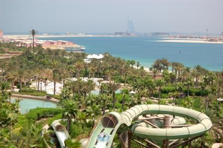 DUBAI, UAE - AUGUST 28: The Aquaventure waterpark of Atlantis the Palm hotel on August 28, 2009 in Dubai, UAE. It is located on a man-made island Palm Jumeirah.