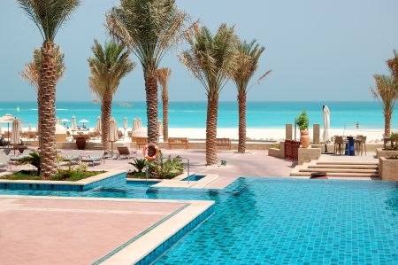 Swimming pools at the luxury hotel, Saadiyat island, Abu Dhabi, UAE