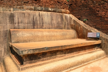 The Throne on the top of Sigiriya (Lion's rock) is an ancient rock fortress and palace ruins, Sri Lanka Stock Photo - 15197147