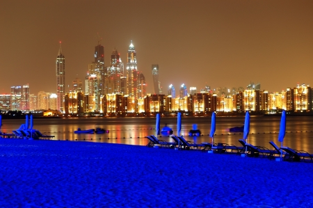 Night illumination of the luxury hotel beach on Palm Jumeirah man-made island, Dubai, UAE Stock Photo - 15197184