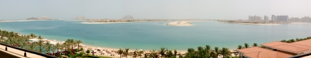 Panorama of the Palm Jumeirah man-made island, Dubai, UAE photo