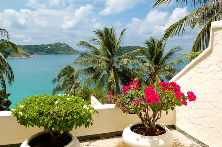 Terrace with sea view at luxury hotel, Phuket, Thailand photo