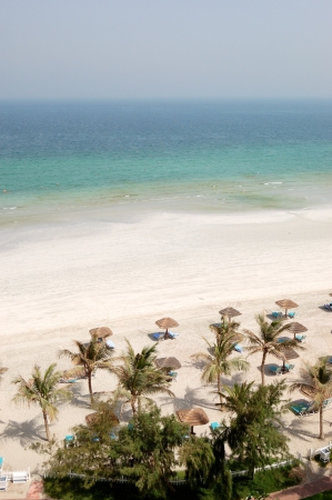 ajman: Beach and turquoise water of the luxury hotel, Ajman, UAE